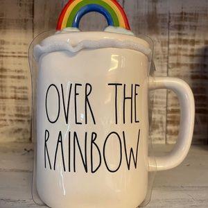 "Rae Dunn New ""Over The Rainbow"" mug with topper"